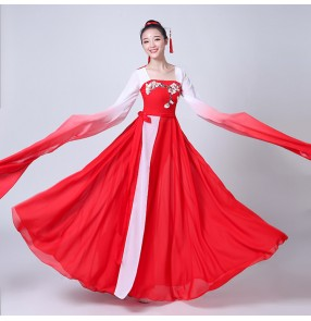 Chinese ancient chinese folk dance costumes fairy yangko fan dance water fall sleeves red gradient colored traditional stage performance cosplay dancing dresses