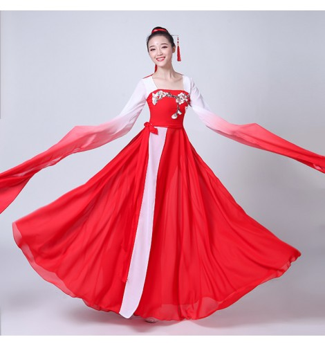 Chinese Ancient Folk Dance Costumes Fairy Yangko Fan Water Fall Sleeves Red Grant Colored Traditional Stage Performance Cosplay Dancing