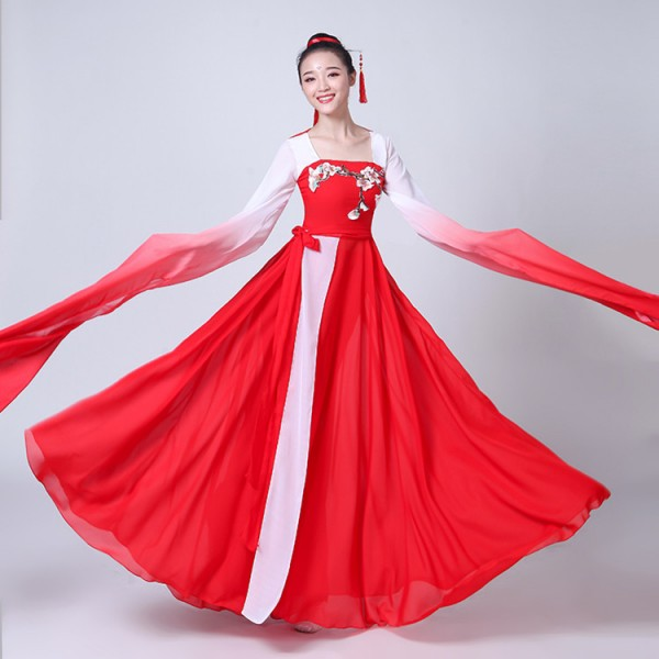 Ancient Chinese Folk Dance Costumes Fairy Yangko Fan Water Fall Sleeves Red Grant Colored Traditional Stage Performance Cosplay Dancing Dresses