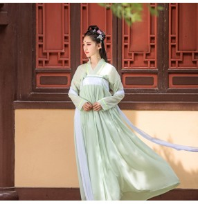 Chinese ancient Costume light green Hanfu Chinese Han Tang Ming Qing dynasty cosplay dresses women Fairy skirt full Classical dance costumes