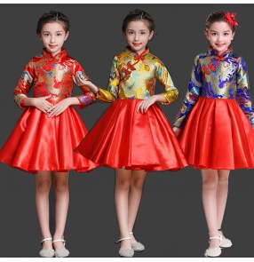 Chinese ancient dragon tang suit for girls boys host choir drummer performance costumes dress jacket dress suit flower girl dress Tang suit