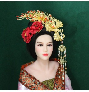 Chinese ancient empress hair jewelry stage performance drama cosplay hair accessories bridal tiara phoenix hairpin