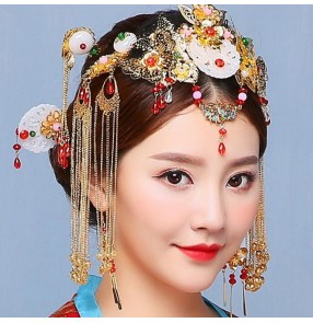 Chinese ancient empress headdress Bride drama photos cosplay hair accessories Chinese style Hanfu court royal tassel tiara hair accessories hairpin set ornament