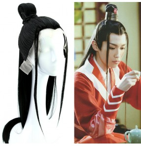 Chinese ancient hanfu folk costumes wig for men prince swordsman warrior cosplay hair accessories film anime drama perofrmance photos wig headgear for male