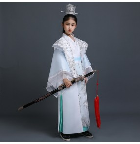 Chinese ancient style Hanfu boys warrior drama cosplay costumes children knights swordsmen scholar students performance Chinese style photo dress