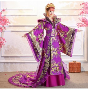 Chinese ancient Tang dynasty queen Drama cosplay Tailing Costume dress Guzheng Show Clothing Women Hanfu Chinese Photography clothes