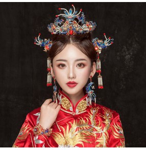 Chinese ancient traditional brides photos crown empress princess cosplay wedding party headdress phoenix hairpin hair jewelry