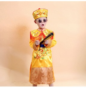 Chinese ancient traditional costumes yellow dragon robes for boy 's emperor prince children's drama Han Qing dynasty cosplay costumes