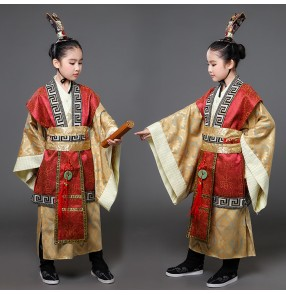 Chinese ancient traditional dance costumes for boys girls children tang hanfu prince stage performance photos drama cosplay robes clothes