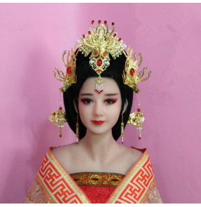 Chinese ancient traditional oriental dance queen phoenix headdress fairy princess drama cosplay hair accessories hairpin jewelry