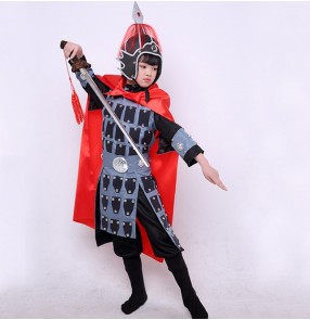 Chinese Ancient traditional swordsman warrior performance costumes for boy girls Mulan ancient soldier film drama cosplay clothes general armor performance suit