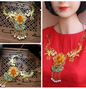 Chinese  brides drama cosplay jewelry ancient traditional photos stage performance phoenix necklace