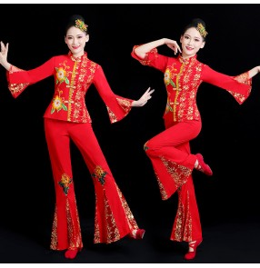 Chinese chinese Yangko clothing for women square dance waist drum costume traditional fan umbrella dance performance costume