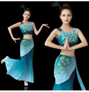 Chinese Dai minority performance costume female peacock dance costume blue gradient fishtail skirt practice belly performance costume