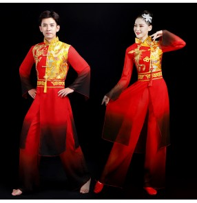 chinese dragon drummer folk dance costumes lion dance clothes for women and men yangko umbrella fan dance drumming clothing for women