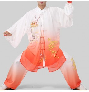 Chinese dragon Taichi uniforms for women and men wushu fitness performance competition veil three-piece suit martial art embroidery clothing