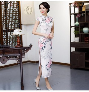 Chinese dress ancient traditional chinese qipao dress oriental style model stage performance Miss etiquette dress