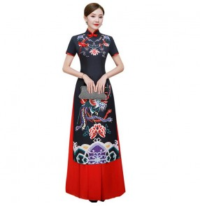 Chinese dress black yellow pink china traditional qipao dresses cheongsam dress stage performance model show dress