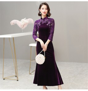 Chinese dress china qipao dress for women royal blue purple Long hollow stitching lace velvet cheongsam Everyday big swing cheongsam dress