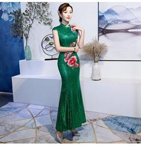 Chinese dress china qipao dress oriental style cheongsam model show miss ettiquett car model performance dress