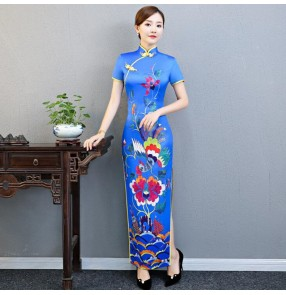 Chinese dress china qipao dress traditional oriental retro cheongsam evening party model show performance dress
