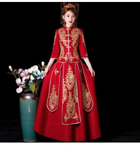 Chinese dress china qipao dress wedding party bride dress banquet evening party stage performance photography dress