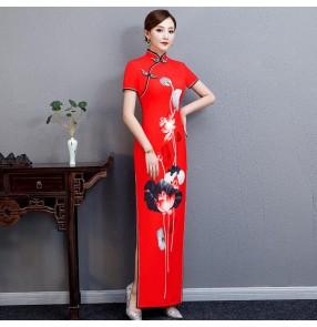 Chinese dress china traditional qipao dress oriental cheongsam dress show performance Miss etiquette dress