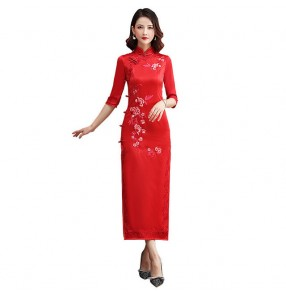 Chinese Dress China Traditional Qipao Dress pink green red Oriental Style Cheongsam Dress Miss Etiquette Model Show Performance Dress
