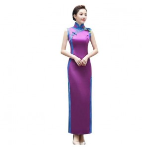 Chinese dress china traditional qipao oriental cheongsam dress Miss etiquette model show performance evening party dress