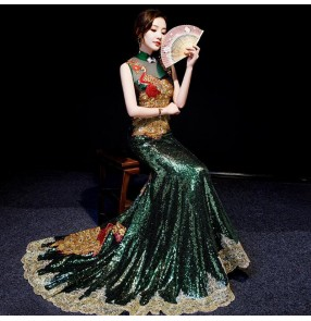Chinese dress chinese banquet model show trailing dress wedding dress traditional qipao dress dark green sequin trailing dress
