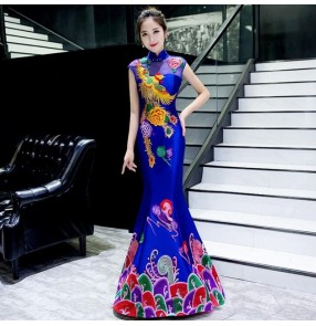 Chinese dress chinese qipao dress phoenix mermaid cheongsam dress traditional oriental model show stage performance evening party dress