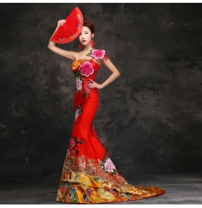 Chinese dress chinese retro qipao dress flowers dragon traditional wedding party bride trailing evening dresses