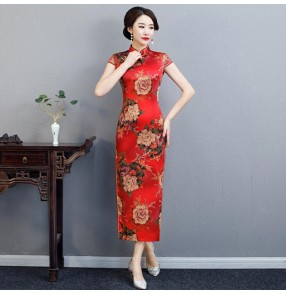 Chinese dress chinese traditional qipao dress oriental style cheongsam model show miss etiquette waistress dress