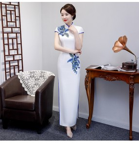 Chinese dress chinese traditional red qipao dresses women's oriental stage performance host evening party dresses