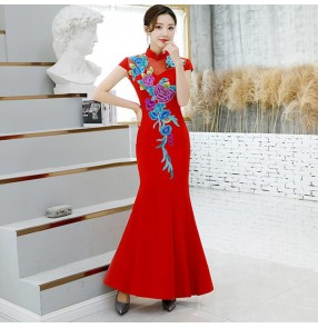 Chinese dress flowers qipao dress oriental style cheongsam china dress model show stage performance memaid dress