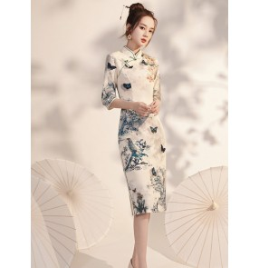 Chinese dress for women girls retro oriental qipao dress butterfly printed fairy chinese traditional gown mid-sleeve cheongsam everyday retro cheongsam