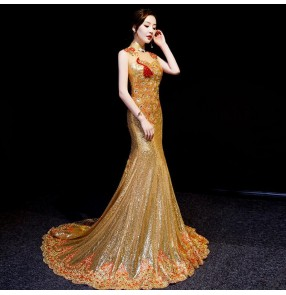 Chinese dress gold sequin qipao dress oriental chinese wedding party bride mermaid dress model show performance photography trailing dress