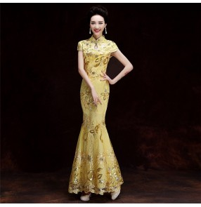 Chinese dress lace qipao dress oriental evening dresses costail mermaid dress host singers miss etiquette performance dress