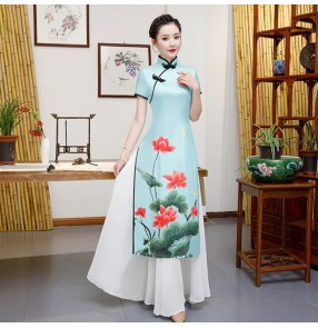 Chinese dress lotus printed qipao retro oriental women's cheongsam dress model miss etiquette stage performance dress