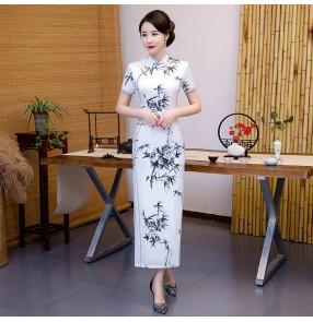Chinese dress oriental qipao dress for women Chinese style silk ink cheongsam Elegant retro woman host catwalk miss etiquette banquet cheongsam dresses