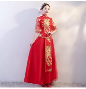 Chinese dress qipao dress china wedding party bride evening dress photography performance evening party dress