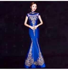 Chinese dress qipao dress evening dress oriental miss etiquette model show performance host dresses