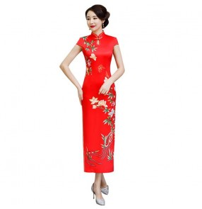 Chinese dress qipao dress oriental style cheongsam dress model stage performance host performing dress