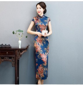 Chinese dress qipao dress retro traditional cheongsam oriental style stage performance singers host dress