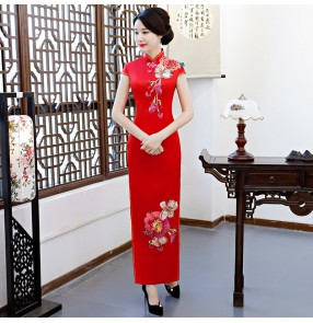 Chinese dress qipao for women oriental cheongsam dress miss etiquette host singers banquet evening dresses for female