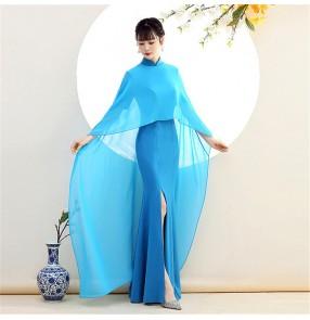 Chinese dress qipao show singers host Cheongsam dress cloak long elegant temperament red fishtail catwalk cheongsam