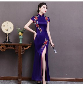 Chinese dress qipao Traditional china oriental retro style dress stage performance evening party host model show dress