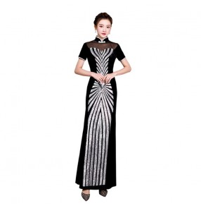 Chinese dress qipao Women's black velvet with sequins oriental chinese traditional dress cheongsam miss etiquette host singers evening party dress