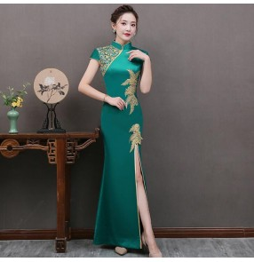 Chinese dress qipao women's china retro traditional cheongsam dress model show performance dress