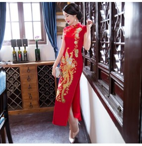 Chinese dress red with gold poenix pattern qipao dress oriental cheongsam dress stage performance photos dress
